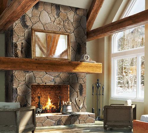 Ekali Brown Fireplace