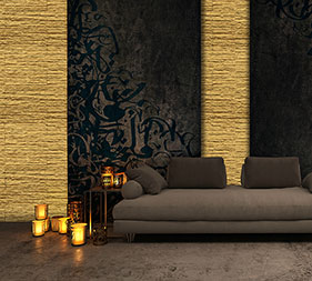 The black and gold make a harmonious & luxurious combination. The wall behind the sofa is decorated with Mathios Stone Dune Aristocracy. A Mathios Stone Jewellery Line stone veneer.