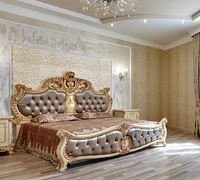 King sized, luxurious bed with Mathios Stone Dune Cosmopolitan decorated on the back wall. Stone veneers from Mathios Stone Jewellery Line.