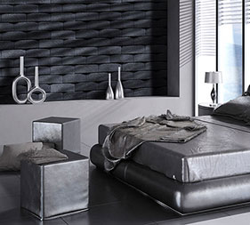 Mathios Stone Atlas Eclipse. A nice decorating stone veneer that blends nicely with the architecture of this modern bedroom.