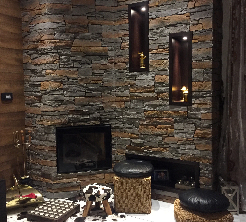 Mathiostone Fireplace with Isola Rusty Stone
