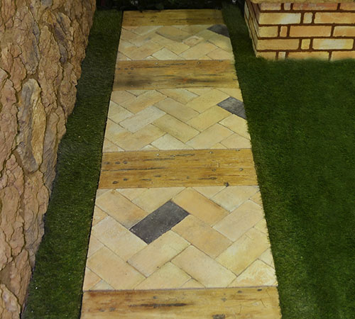 Garden Step with Pavers and Grass