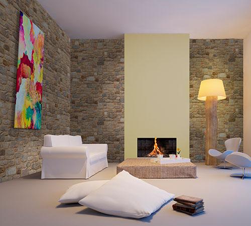 Arcadian Wohnzimmer mit Kamine